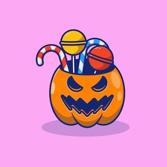 Halloween jack o lantern zucca illustrazione vettoriale design con caramelle all'interno