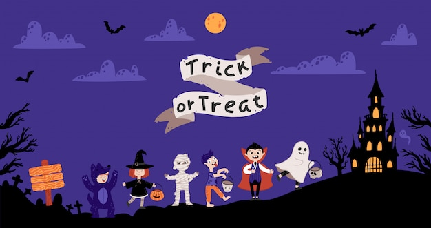Festa in costume per bambini di halloween. bambini in vari costumi per le vacanze.