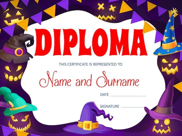 Diploma per bambini di halloween con cappelli da mago e strega. cornice premio vettoriale con tappi magici dei cartoni animati e volti di fantasmi bagliore spettrale. modello di certificato scolastico per feste o feste