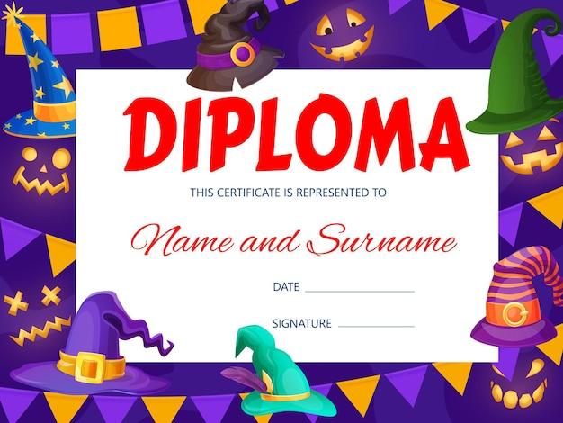 Diploma per bambini di halloween con cappelli da mago e strega. modello di vettore del certificato scolastico di istruzione con copricapo di vacanza del fumetto. cornice per la celebrazione della festa dell'asilo con tappi magici. cornice premio bambino