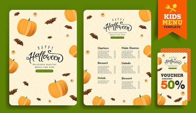 Disegno del modello di menu per bambini di halloween con simpatici personaggi di halloween dei cartoni animati