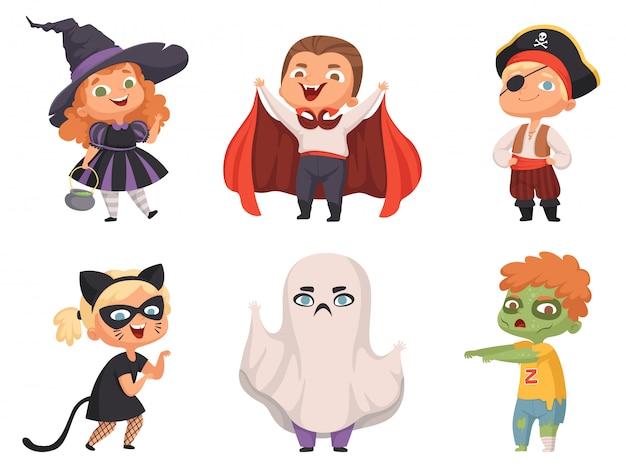 Bambini di halloween. party bambini personaggi spaventosi costume strega vampiro collezione halloween cartone animato