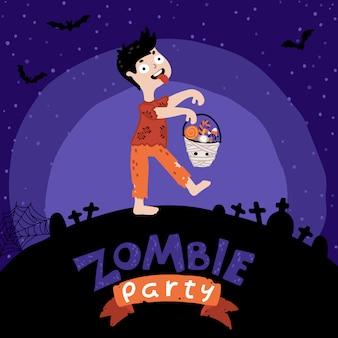 Festa di halloween per bambini zombie.