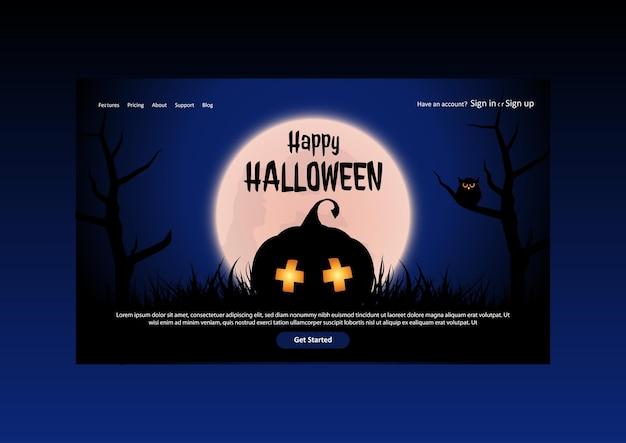 Pagina di destinazione di halloween con zucche spettrali contro un paesaggio illuminato dalla luna