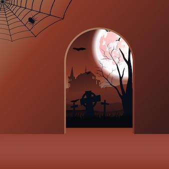 Paesaggio di halloween con castello, pipistrelli, luna e cimitero. vettore