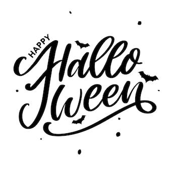 Halloween lettering biglietto di auguri calligrafia testo pennello nero