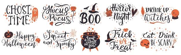 Citazioni scritte di halloween. frasi scritte a mano di halloween, metti un incantesimo su di te e insieme di vettore di dolcetto o scherzetto. iscrizione spettrale di halloween. tipografia scritta a mano di halloween, citazione e scritte di saluto