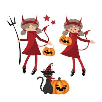 Collezione di halloween piccoli diavoli della ragazza.