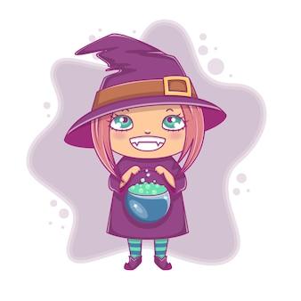 Piccola strega di halloween. ragazzina in costume di halloween con calderone. illustrazione vettoriale. isolato.