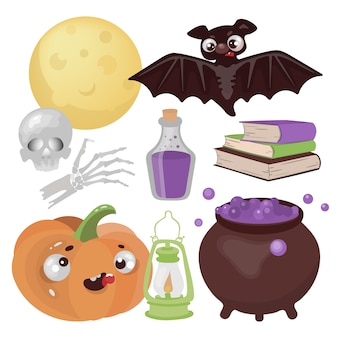 Halloween magic hand drawn flat design cartoon clip art wonderland horror