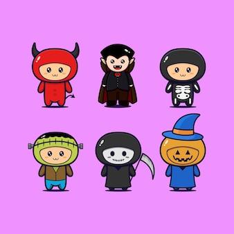 Collezione di mascotte di halloween con vari personaggi
