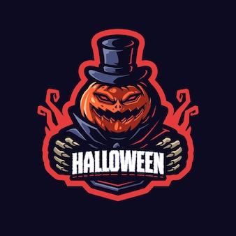 Modello di logo della mascotte di halloween