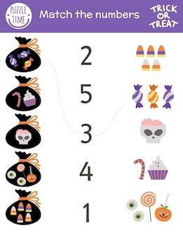 Gioco di abbinamento di halloween con dolcetto o scherzetto dolci e sacco. attività di matematica autunnale per bambini in età prescolare. foglio di lavoro educativo stampabile con simpatici elementi divertenti per bambini