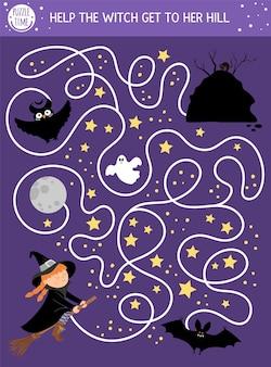 Labirinto di halloween per bambini. attività educativa stampabile in età prescolare autunnale. divertente giorno dei morti gioco o puzzle con scena spettrale, cielo notturno e stelle. aiuta la strega a raggiungere la sua collina