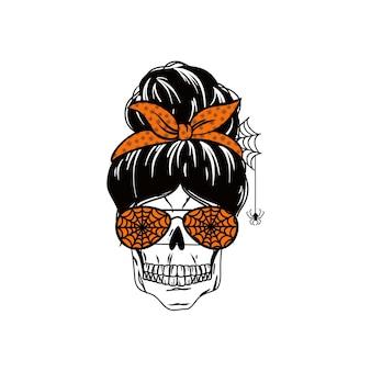 Panino disordinato di halloween holiday mom life design con citazione spooky mama funny mom