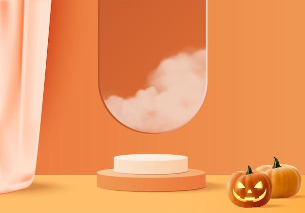 Scena minima 3d di halloween con piattaforma fumo e podio. rendering 3d di vettore del fondo di halloween con il podio della zucca. stand per mostrare i prodotti. stage showcase su piedistallo moderno arancione zucca pastello