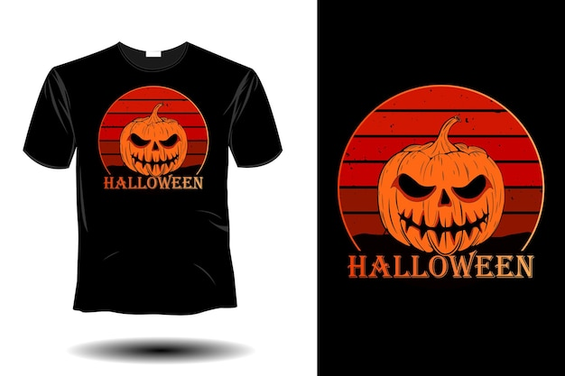 Design vintage retrò mockup di halloween