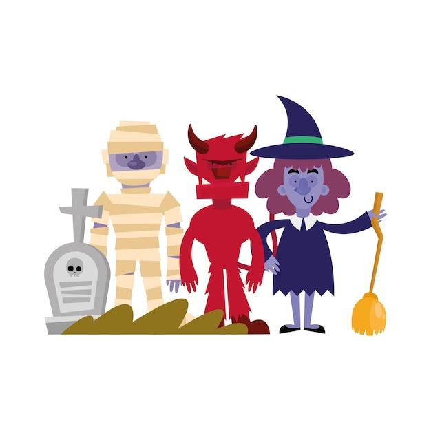 Fumetto della mummia di halloween, vacanza felice e spaventoso