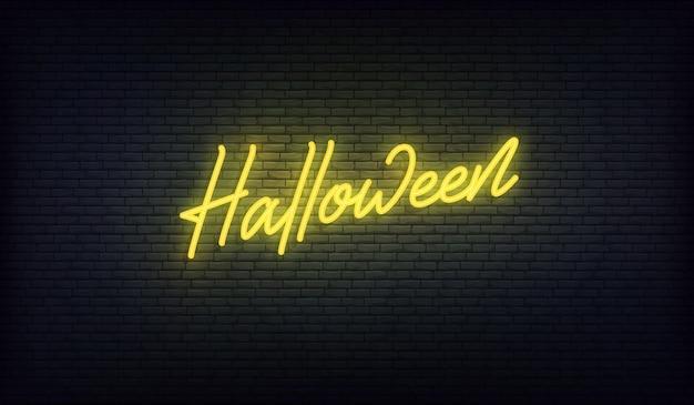 Insegna al neon di halloween. disegno di festa di halloween.