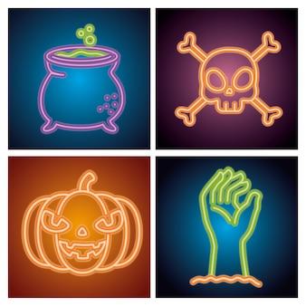 Insegne al neon di halloween con decorazioni