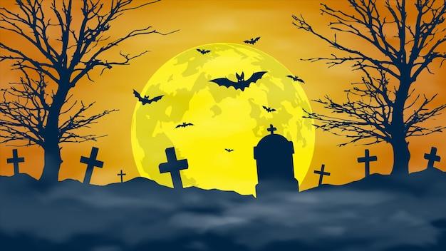 Priorità bassa di notte di halloween. cimitero spaventoso e luna piena.