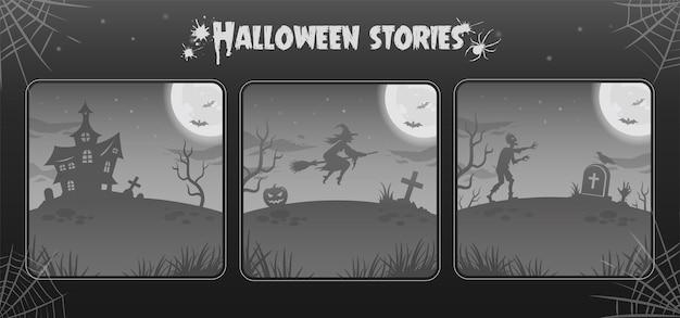 Sfondi notte di halloween, illustrazioni in toni di grigio. collezione. luna splendente, zombie, strega
