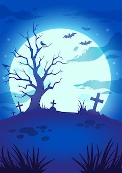 Illustrazione della notte di halloween con una grande luna luminosa, pipistrelli volanti, albero spaventoso, tombe e croci