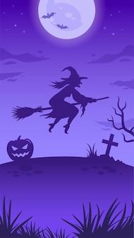 Illustrazione di notte di halloween con grande luna incandescente, strega volante, zucca, tomba e pipistrelli