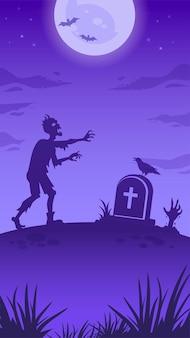 Illustrazione della notte di halloween con una grande luna luminosa, un morto che cammina, una pietra tombale e una mano di zombi