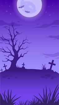Illustrazione della notte di halloween con luna piena, pipistrelli volanti, albero spaventoso, tombe e croci