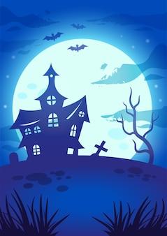 Illustrazione notturna di halloween con grande luna luminosa, casa delle streghe, lapide, albero malvagio e pipistrelli