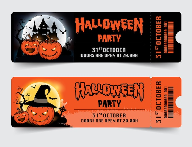 Biglietti per feste notturne di halloween con zucche