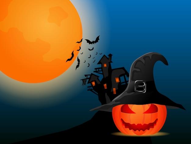 Zucche di notte di halloween che indossano l'illustrazione del fumetto del cappello della strega