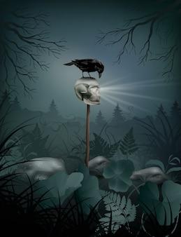 Scena notturna di halloween