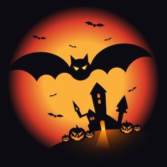 Sfondo di paesaggio notturno di halloween decorativo con zucca, castello e pipistrelli. elemento di design per poster di festa di halloween, biglietto di auguri, brochure, carta da parati, sfondo, illustrazione vettoriale