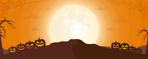 Priorità bassa di vettore di notte di halloween con gatto nero, ragnatela e sagome di zucca al chiaro di luna. illustrazione vettoriale.