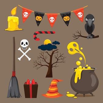 Set di icone di oggetti di halloween