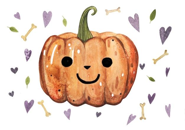 Illustrazione dell'acquerello della zucca arancione di halloween di ottobre con la foglia, priorità bassa di forma del cuore.