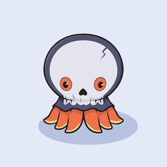 Il polpo di halloween indossa una maschera da teschio