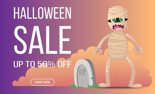 Banner di vendita dello shopping online di halloween