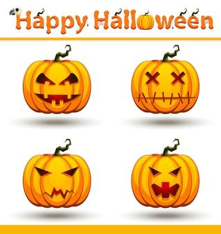 Insieme del fronte della zucca arancione di halloween