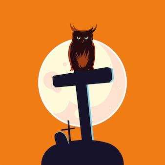 Fumetto del gufo di halloween sulla tomba davanti al disegno della luna