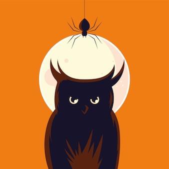 Fumetto del gufo di halloween con il ragno davanti al disegno della luna