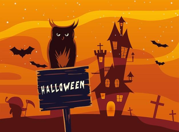 Fumetto del gufo di halloween sulla bandiera di legno davanti al design del castello, vacanze e tema spaventoso