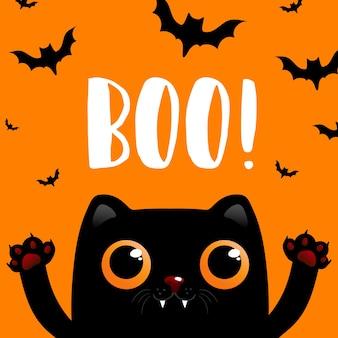 Carta di halloween tagliata sfondo con gatto nero. biglietto di auguri, flyer, poster o modello di invito per halloween. illustrazione vettoriale eps 10