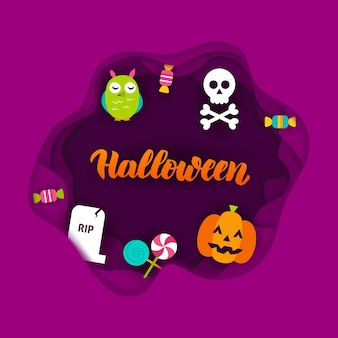Concetto di taglio della carta di halloween. illustrazione di vettore. dolcetto o scherzetto.