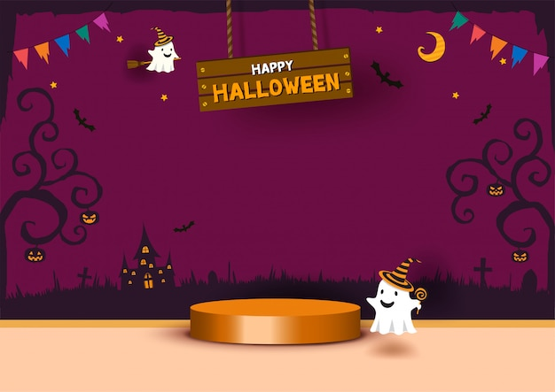 Modello di scena 3d festa di halloween con fantasma e podio del cilindro