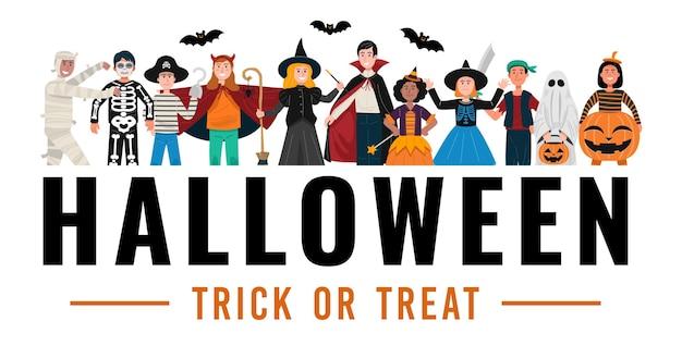 Sfondo festa di halloween, bambini in costumi di halloween.