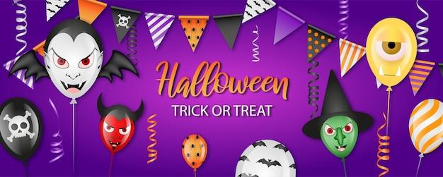 Banner festa di halloween con palloncini, gagliardetti e stelle filanti