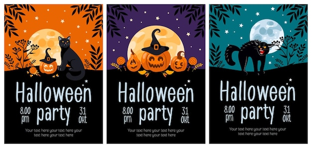 Set di volantini per feste di halloween zucca jackolantern gatto nero strega cappello luna lecca-lecca